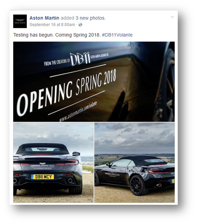Aston Martin DB11 Convertible Teaser Images for Spring 2018